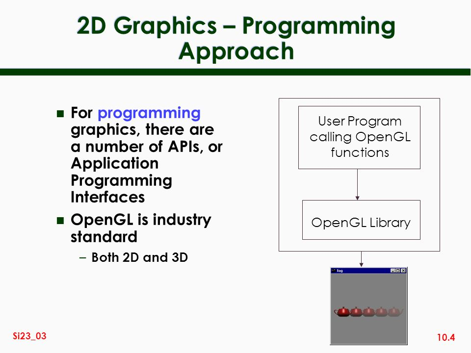 10.4 Si23_03 2D Graphics – Programming Approach n For programming graphics, there are a number of APIs, or Application Programming Interfaces n OpenGL is industry standard – Both 2D and 3D User Program calling OpenGL functions OpenGL Library