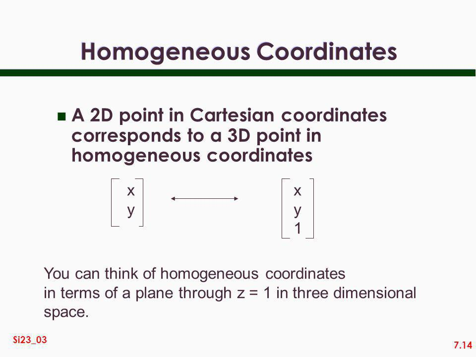 7.14 Si23_03 Homogeneous Coordinates n A 2D point in Cartesian coordinates corresponds to a 3D point in homogeneous coordinates xyxy xy1xy1 You can think of homogeneous coordinates in terms of a plane through z = 1 in three dimensional space.