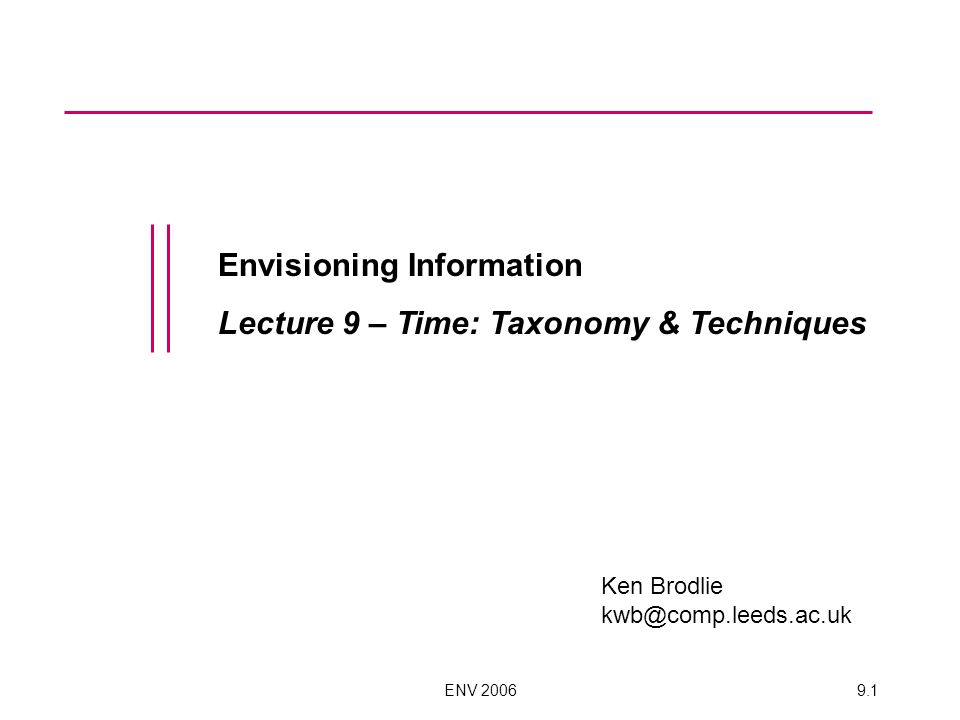 ENV 20069.1 Envisioning Information Lecture 9 – Time: Taxonomy & Techniques Ken Brodlie kwb@comp.leeds.ac.uk