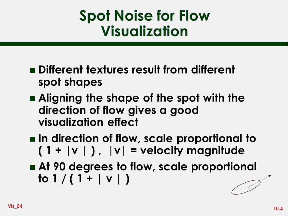 10.4 Vis_04 Spot Noise for Flow Visualization n Different textures result from different spot shapes n Aligning the shape of the spot with the direction of flow gives a good visualization effect n In direction of flow, scale proportional to ( 1 + |v | ), |v| = velocity magnitude n At 90 degrees to flow, scale proportional to 1 / ( 1 + | v | )