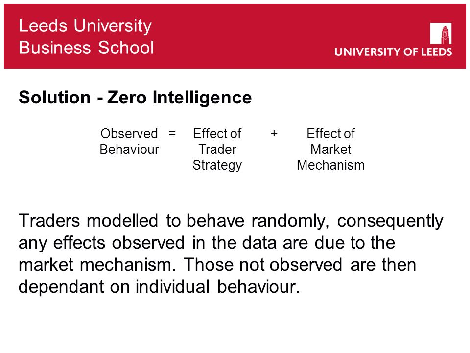 Leeds University Business School Solution - Zero Intelligence Traders modelled to behave randomly, consequently any effects observed in the data are due to the market mechanism.