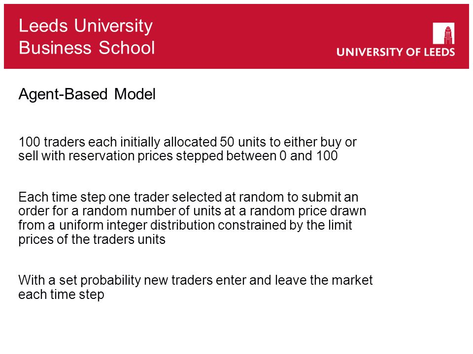 Leeds University Business School Agent-Based Model 100 traders each initially allocated 50 units to either buy or sell with reservation prices stepped between 0 and 100 Each time step one trader selected at random to submit an order for a random number of units at a random price drawn from a uniform integer distribution constrained by the limit prices of the traders units With a set probability new traders enter and leave the market each time step