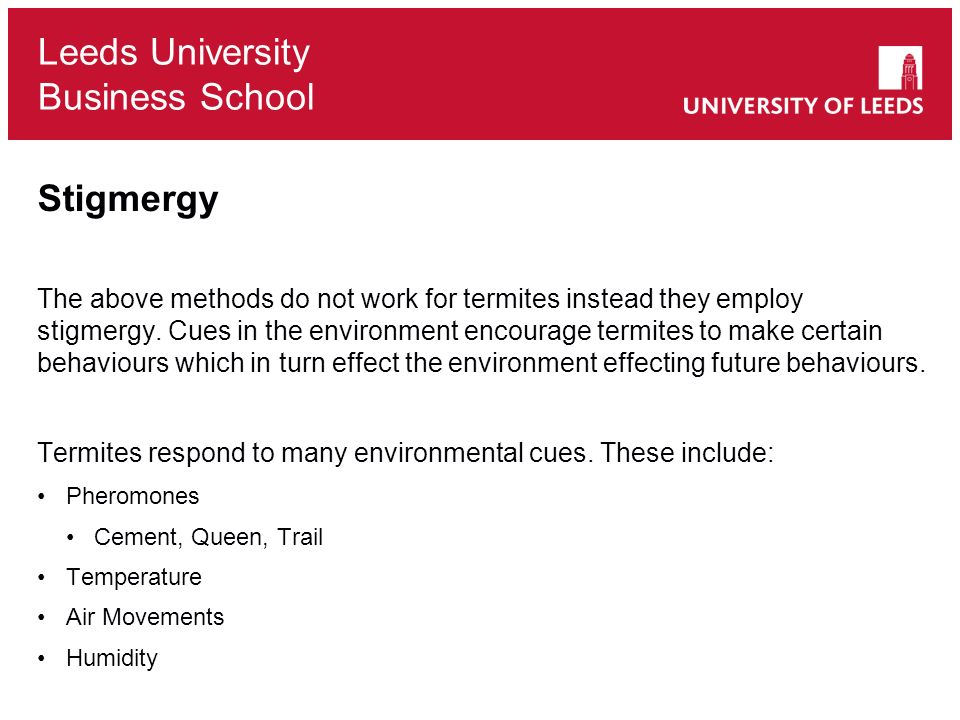 Leeds University Business School Stigmergy The above methods do not work for termites instead they employ stigmergy. Cues in the environment encourage