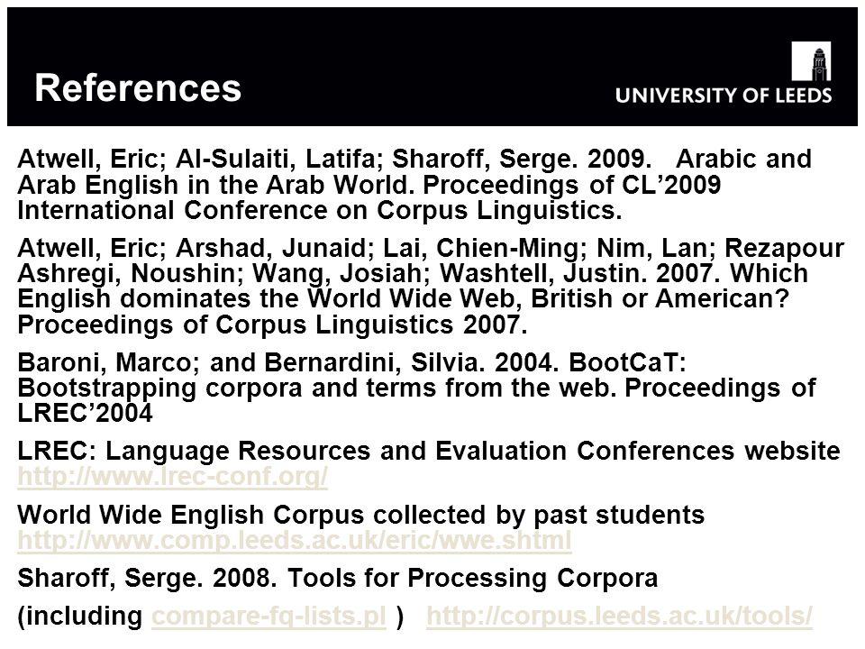 References Atwell, Eric; Al-Sulaiti, Latifa; Sharoff, Serge. 2009. Arabic and Arab English in the Arab World. Proceedings of CL2009 International Conf