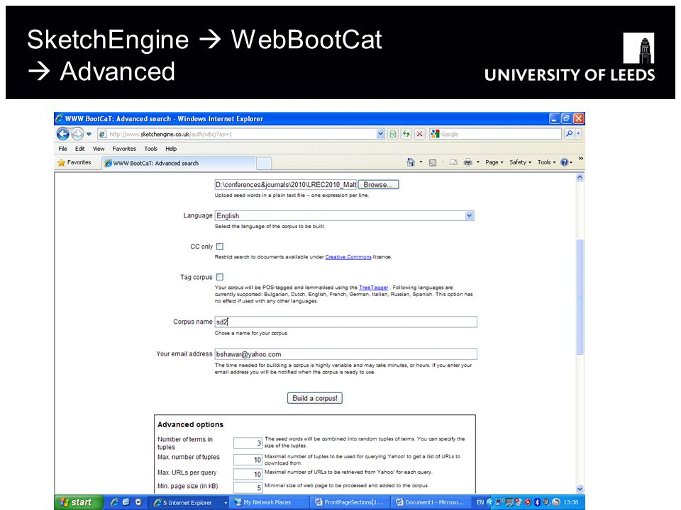 SketchEngine WebBootCat Advanced