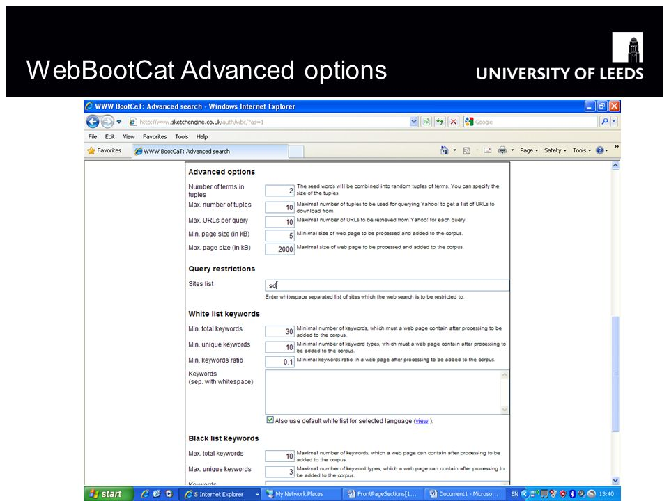 WebBootCat Advanced options