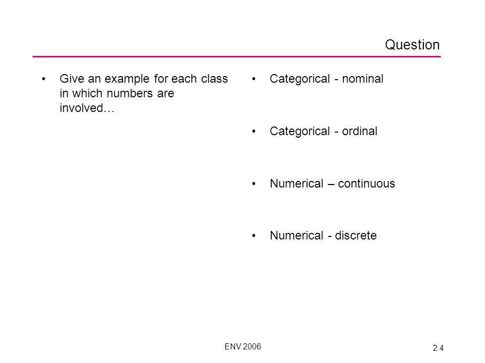 ENV 2006 2.4 Question Give an example for each class in which numbers are involved… Categorical - nominal Categorical - ordinal Numerical – continuous Numerical - discrete