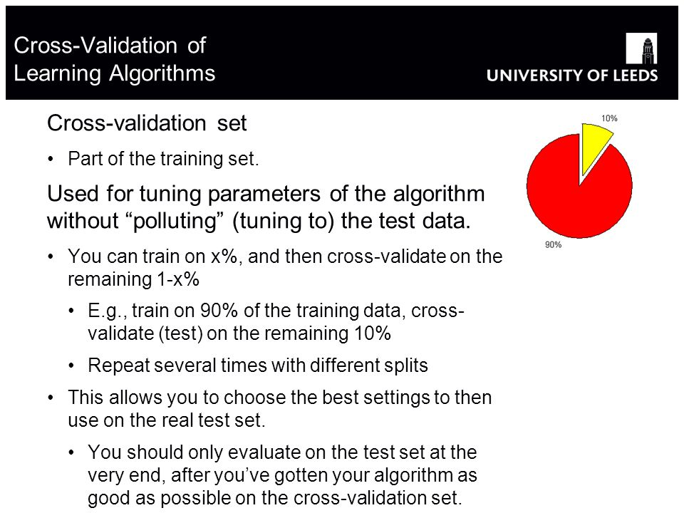 Cross-Validation of Learning Algorithms Cross-validation set Part of the training set.