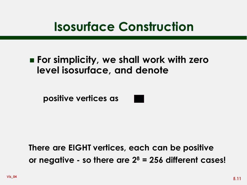 5.11 Vis_04 Isosurface Construction n For simplicity, we shall work with zero level isosurface, and denote positive vertices as There are EIGHT vertic