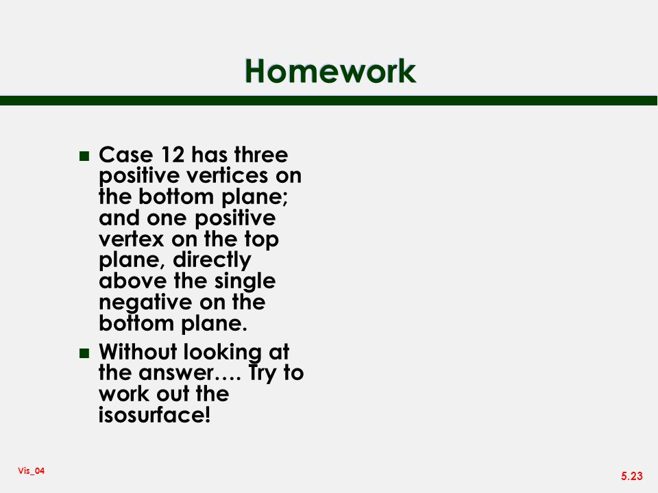 5.23 Vis_04 Homework n Case 12 has three positive vertices on the bottom plane; and one positive vertex on the top plane, directly above the single ne