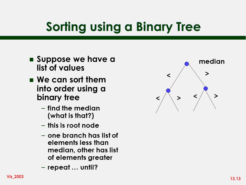 13.13 Vis_2003 Sorting using a Binary Tree n Suppose we have a list of values n We can sort them into order using a binary tree – find the median (wha