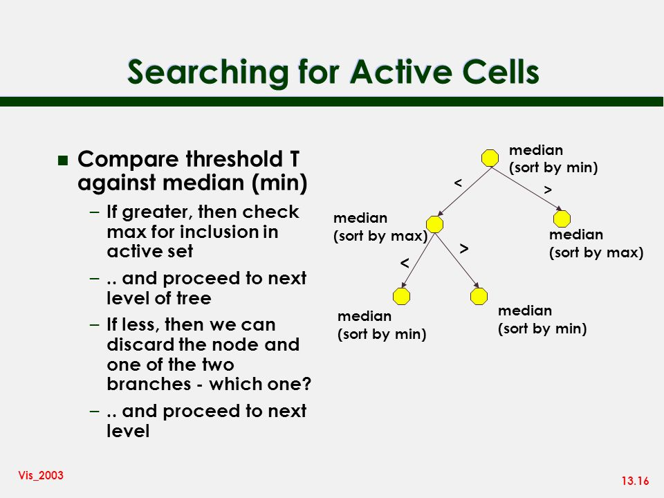 13.16 Vis_2003 Searching for Active Cells n Compare threshold T against median (min) – If greater, then check max for inclusion in active set –.. and