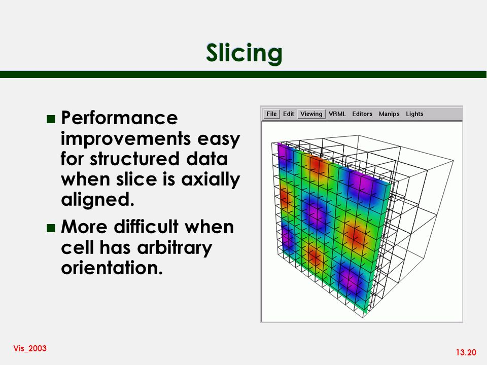 13.20 Vis_2003 Slicing n Performance improvements easy for structured data when slice is axially aligned. n More difficult when cell has arbitrary ori