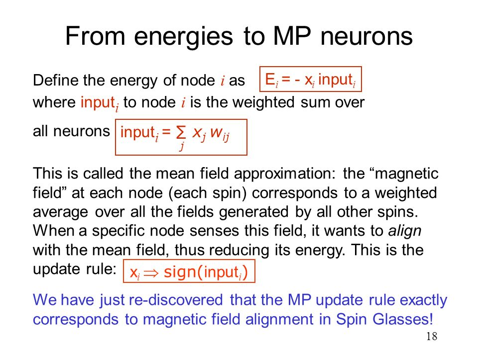18 From energies to MP neurons We have just re-discovered that the MP update rule exactly corresponds to magnetic field alignment in Spin Glasses! x i