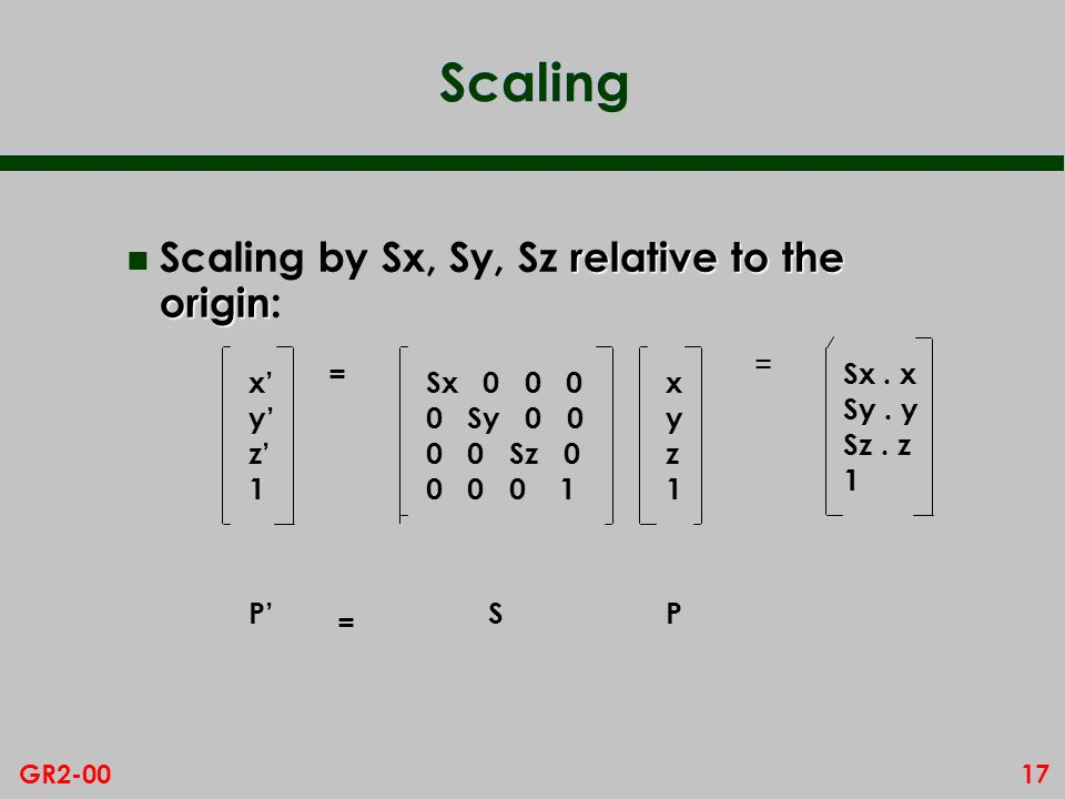 17GR2-00 Scaling relative to the origin n Scaling by Sx, Sy, Sz relative to the origin: xyz1xyz1 Sx 0 0 0 0 Sy 0 0 0 0 Sz 0 0 0 0 1 xyz1xyz1 P = SP = = Sx.