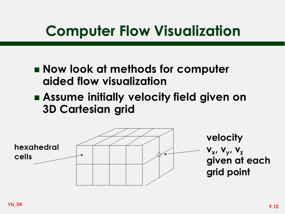 9.10 Vis_04 Computer Flow Visualization n Now look at methods for computer aided flow visualization n Assume initially velocity field given on 3D Cartesian grid velocity v x, v y, v z given at each grid point hexahedral cells