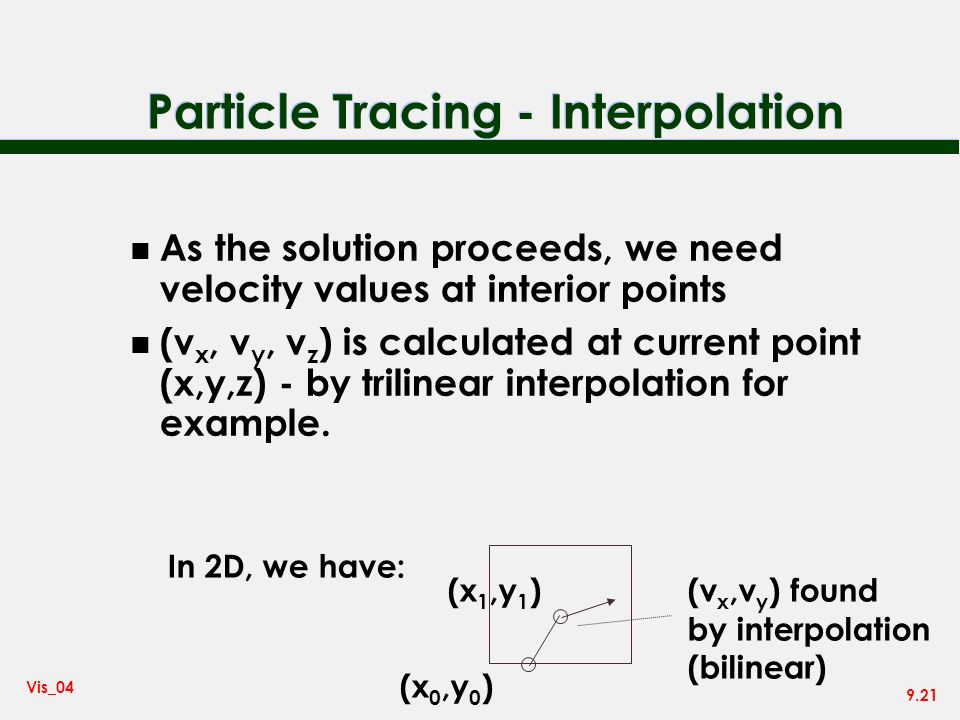 9.21 Vis_04 Particle Tracing - Interpolation n As the solution proceeds, we need velocity values at interior points n (v x, v y, v z ) is calculated at current point (x,y,z) - by trilinear interpolation for example.