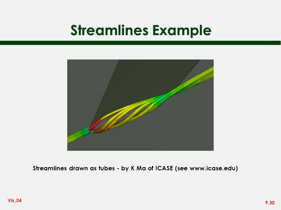 9.30 Vis_04 Streamlines Example Streamlines drawn as tubes - by K Ma of ICASE (see www.icase.edu)