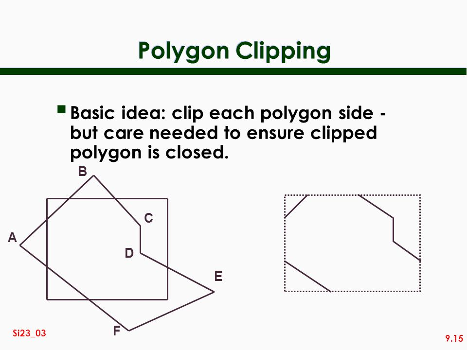 9.15 Si23_03 Polygon Clipping Basic idea: clip each polygon side - but care needed to ensure clipped polygon is closed. A B C D E F