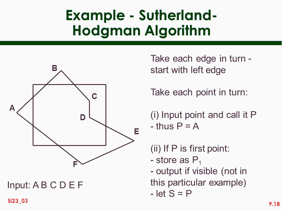 9.18 Si23_03 Example - Sutherland- Hodgman Algorithm Take each edge in turn - start with left edge Take each point in turn: (i) Input point and call i