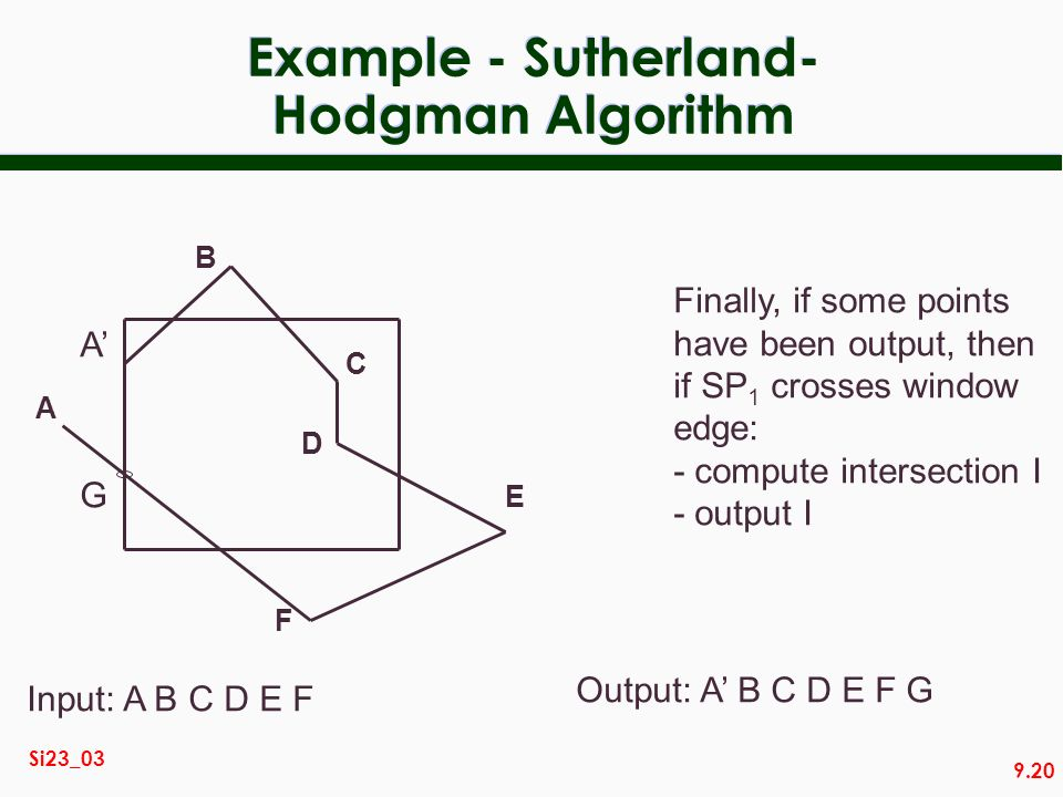 9.20 Si23_03 Example - Sutherland- Hodgman Algorithm Finally, if some points have been output, then if SP 1 crosses window edge: - compute intersectio