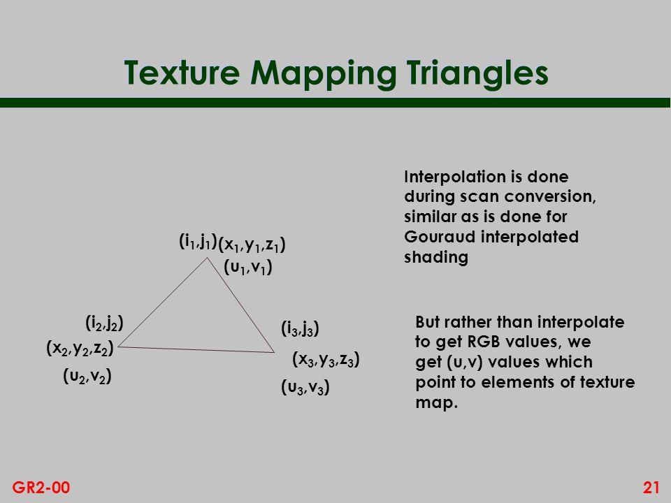 21GR2-00 Texture Mapping Triangles (x 1,y 1,z 1 ) (x 2,y 2,z 2 ) (x 3,y 3,z 3 ) (u 1,v 1 ) (u 2,v 2 ) (u 3,v 3 ) (i 1,j 1 ) (i 2,j 2 ) (i 3,j 3 ) Inte