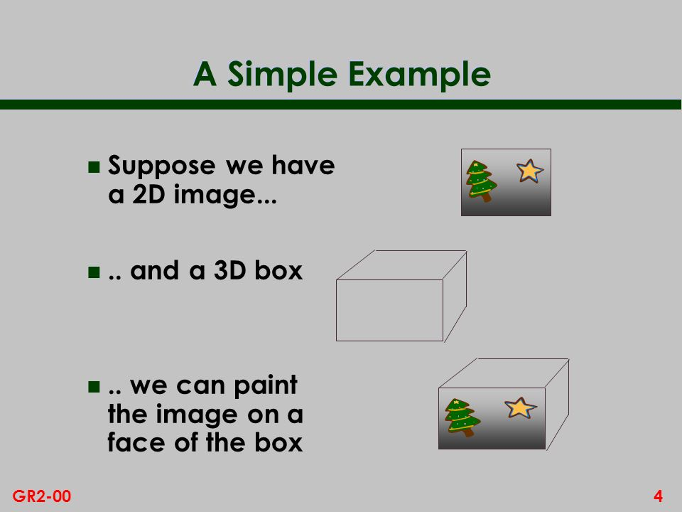 4GR2-00 A Simple Example n Suppose we have a 2D image...