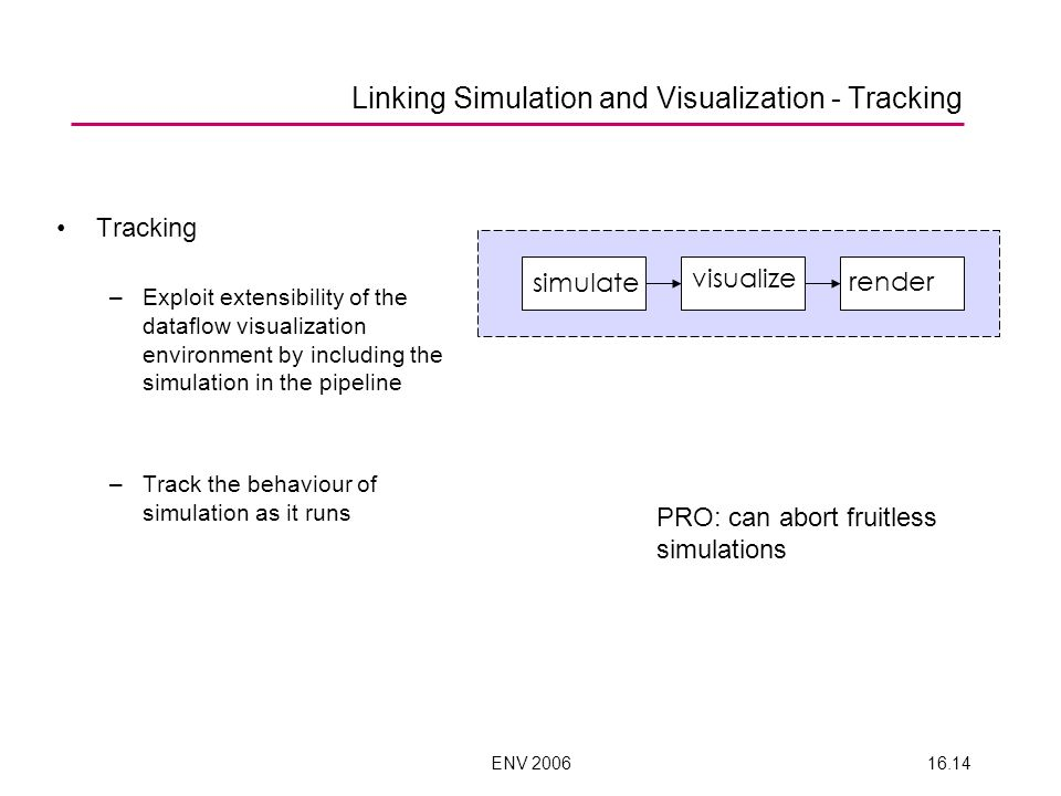 ENV 200616.14 Linking Simulation and Visualization - Tracking Tracking –Exploit extensibility of the dataflow visualization environment by including the simulation in the pipeline –Track the behaviour of simulation as it runs simulate visualize render PRO: can abort fruitless simulations