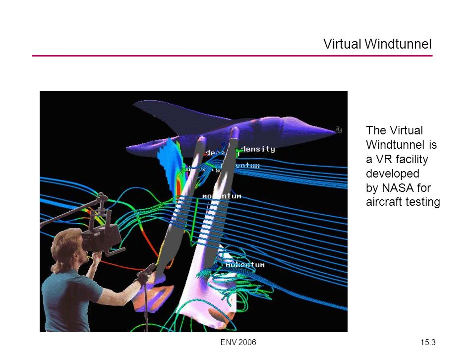 ENV 200615.3 Virtual Windtunnel The Virtual Windtunnel is a VR facility developed by NASA for aircraft testing