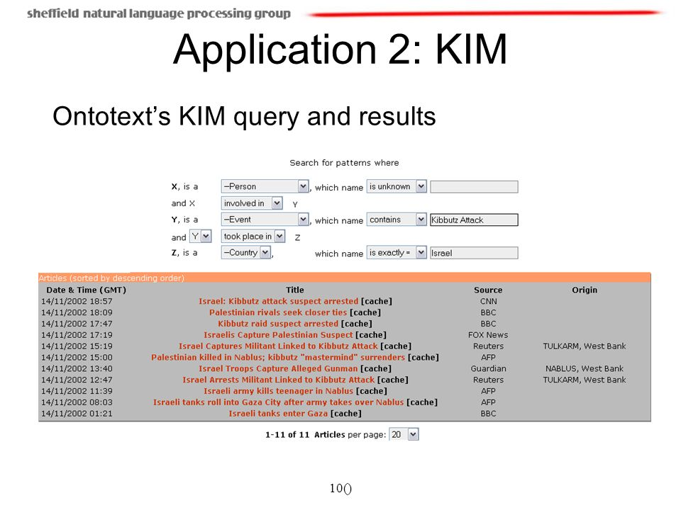 10() Application 2: KIM Ontotexts KIM query and results
