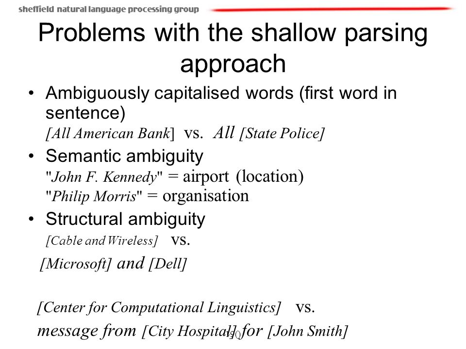19() Problems with the shallow parsing approach Ambiguously capitalised words (first word in sentence) [All American Bank] vs.