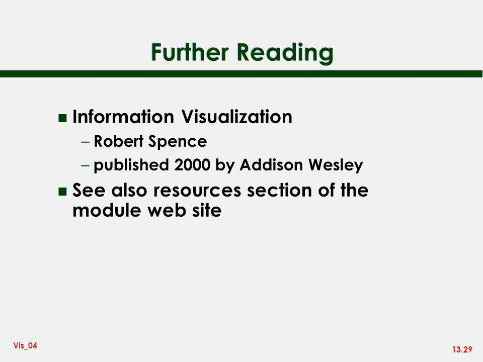 13.29 Vis_04 Further Reading n Information Visualization – Robert Spence – published 2000 by Addison Wesley n See also resources section of the module web site