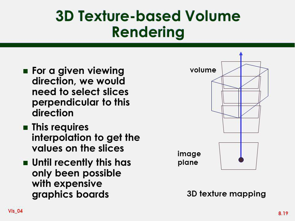 8.19 Vis_04 3D Texture-based Volume Rendering n For a given viewing direction, we would need to select slices perpendicular to this direction n This r