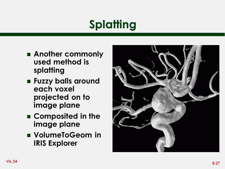 8.27 Vis_04 Splatting n Another commonly used method is splatting n Fuzzy balls around each voxel projected on to image plane n Composited in the imag