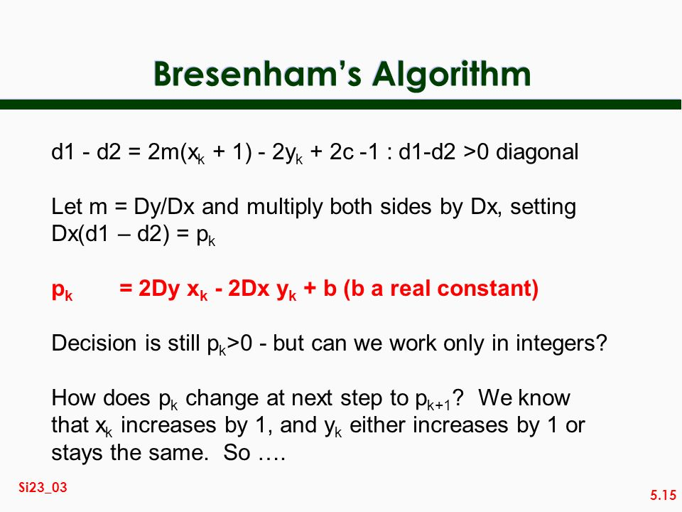 5.15 Si23_03 Bresenhams Algorithm d1 - d2 = 2m(x k + 1) - 2y k + 2c -1 : d1-d2 >0 diagonal Let m = Dy/Dx and multiply both sides by Dx, setting Dx(d1