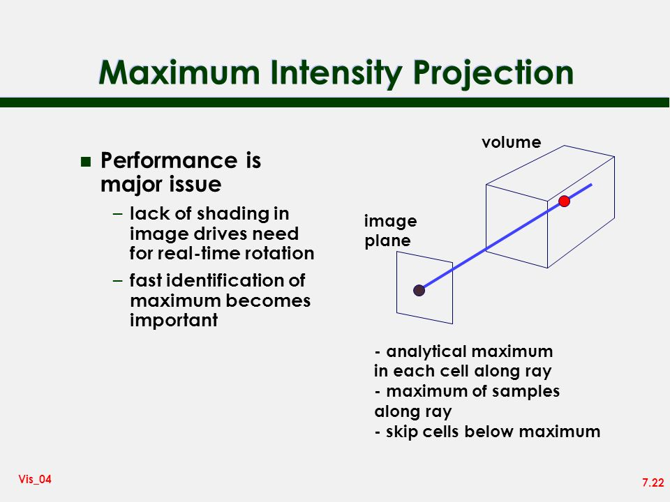 7.22 Vis_04 Maximum Intensity Projection n Performance is major issue – lack of shading in image drives need for real-time rotation – fast identificat