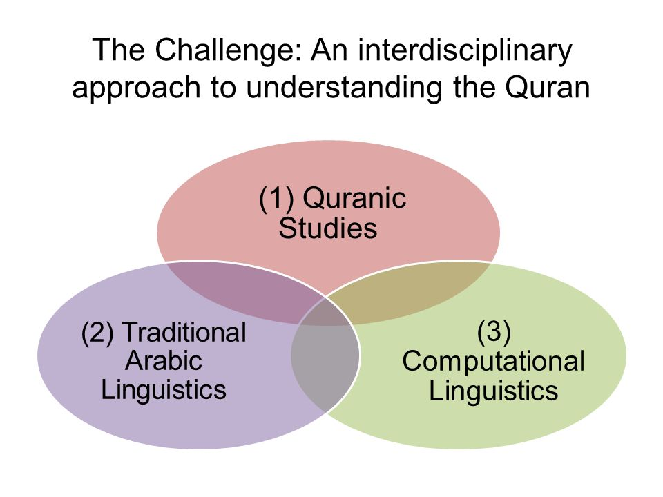 (1) Quranic Studies (3) Computational Linguistics (2) Traditional Arabic Linguistics The Challenge: An interdisciplinary approach to understanding the