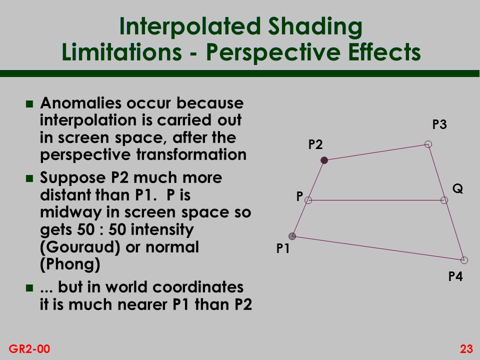 23GR2-00 Interpolated Shading Limitations - Perspective Effects n Anomalies occur because interpolation is carried out in screen space, after the pers