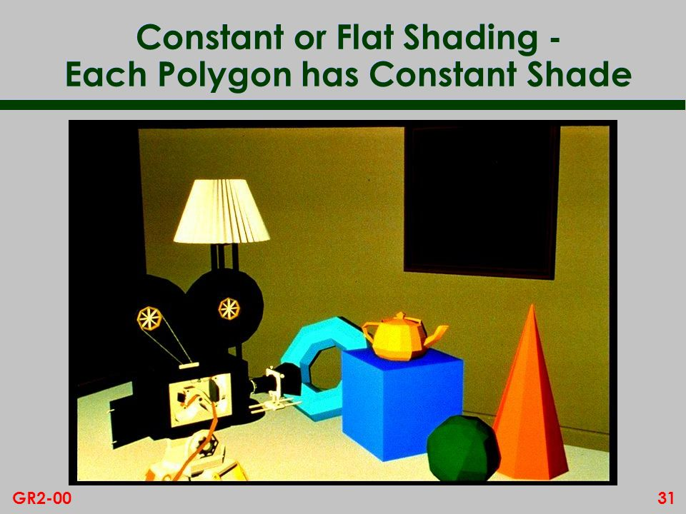 31GR2-00 Constant or Flat Shading - Each Polygon has Constant Shade