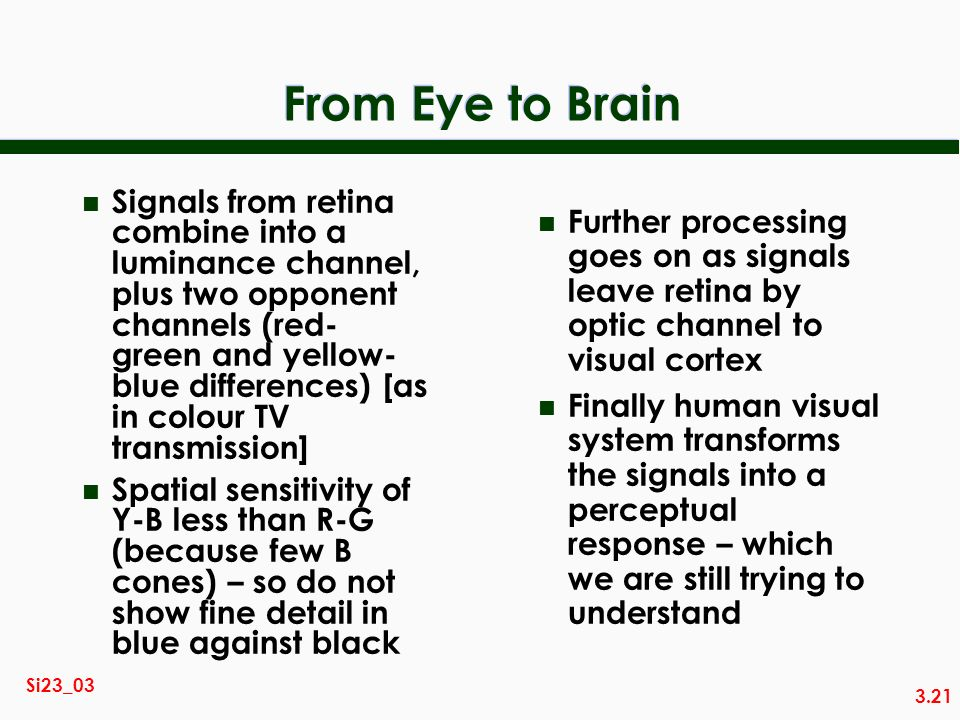 3.21 Si23_03 From Eye to Brain n Signals from retina combine into a luminance channel, plus two opponent channels (red- green and yellow- blue differences) [as in colour TV transmission] n Spatial sensitivity of Y-B less than R-G (because few B cones) – so do not show fine detail in blue against black n Further processing goes on as signals leave retina by optic channel to visual cortex n Finally human visual system transforms the signals into a perceptual response – which we are still trying to understand