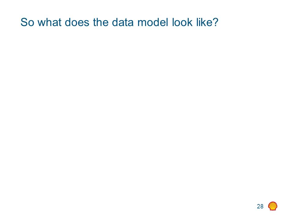 28 So what does the data model look like?