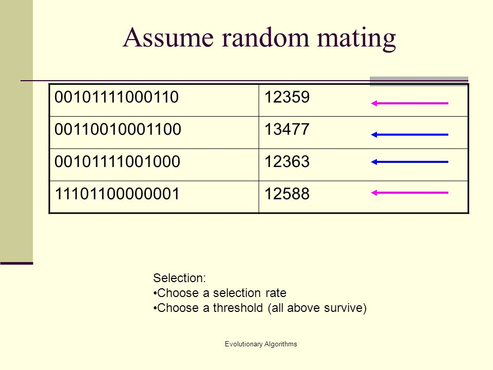Evolutionary Algorithms Assume random mating Selection: Choose a selection rate Choose a threshold (all above survive)