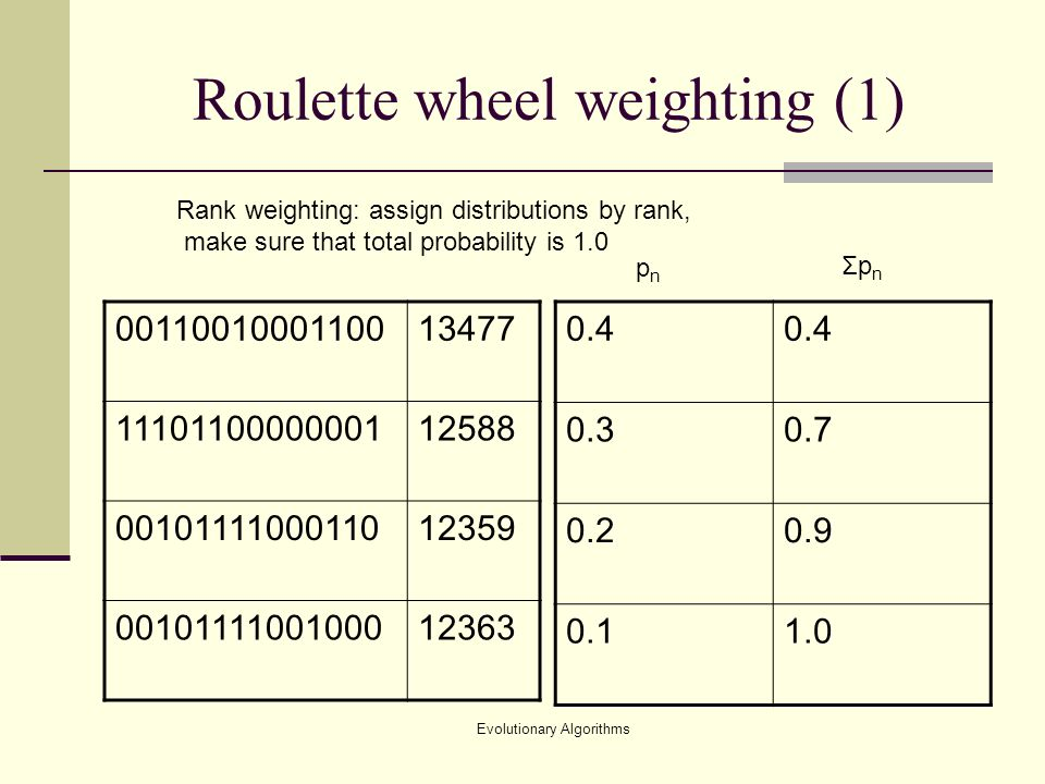 Evolutionary Algorithms Roulette wheel weighting (1) Rank weighting: assign distributions by rank, make sure that total probability is 1.0 pnpn ΣpnΣpn