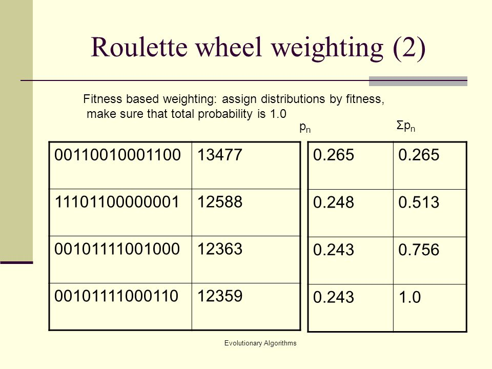 Evolutionary Algorithms Roulette wheel weighting (2) Fitness based weighting: assign distributions by fitness, make sure that total probability is 1.0 pnpn ΣpnΣpn