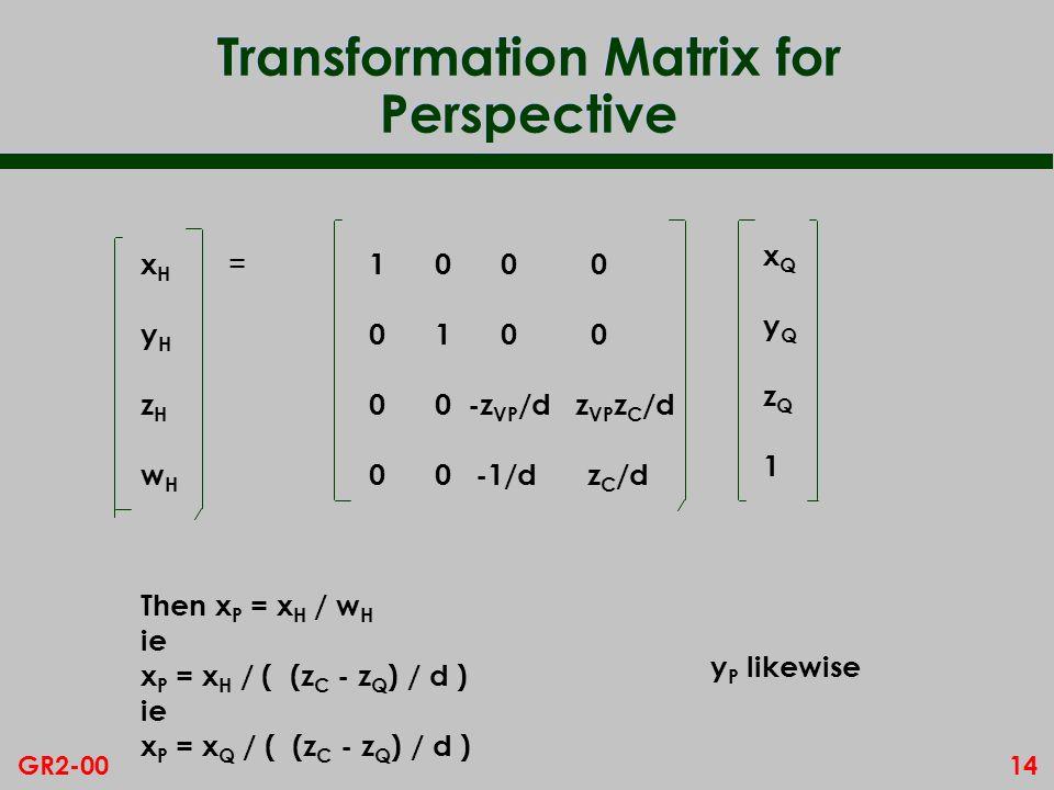 14GR2-00 Transformation Matrix for Perspective 1 0 0 0 0 1 0 0 0 0 -z VP /d z VP z C /d 0 0 -1/d z C /d xQyQzQ1xQyQzQ1 xHyHzHwHxHyHzHwH = Then x P = x