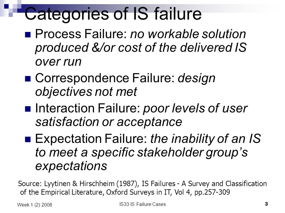 IS33 IS Failure Cases3 Week 1 (2) 2008 Categories of IS failure Process Failure: no workable solution produced &/or cost of the delivered IS over run