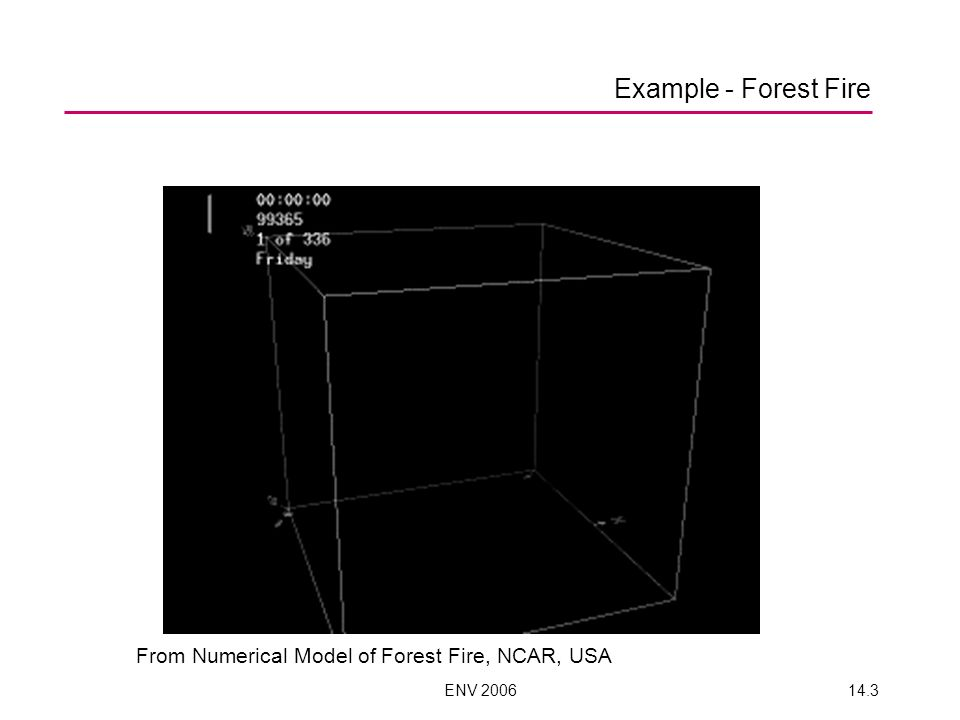 ENV 200614.3 Example - Forest Fire From Numerical Model of Forest Fire, NCAR, USA
