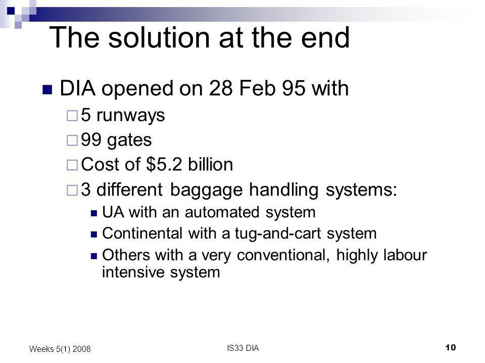 IS33 DIA10 Weeks 5(1) 2008 The solution at the end DIA opened on 28 Feb 95 with 5 runways 99 gates Cost of $5.2 billion 3 different baggage handling s