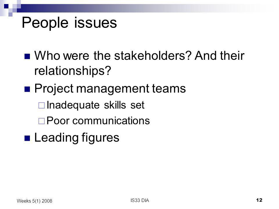 IS33 DIA12 Weeks 5(1) 2008 People issues Who were the stakeholders? And their relationships? Project management teams Inadequate skills set Poor commu