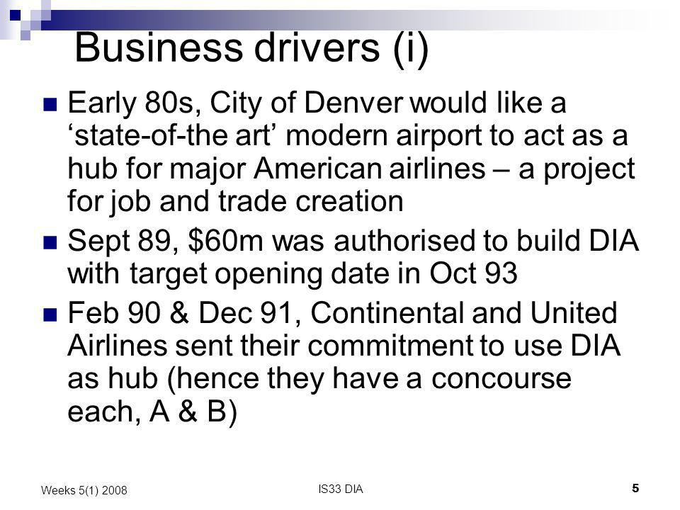 IS33 DIA5 Weeks 5(1) 2008 Business drivers (i) Early 80s, City of Denver would like a state-of-the art modern airport to act as a hub for major Americ